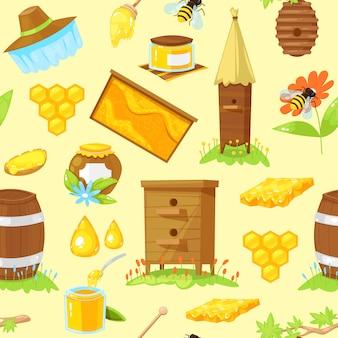 Bezszwowy wzór kreskówka elementy pszczelarstwo
