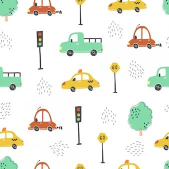 Bezszwowy wzór kreskówka stylu dzieci samochody. ilustracja.