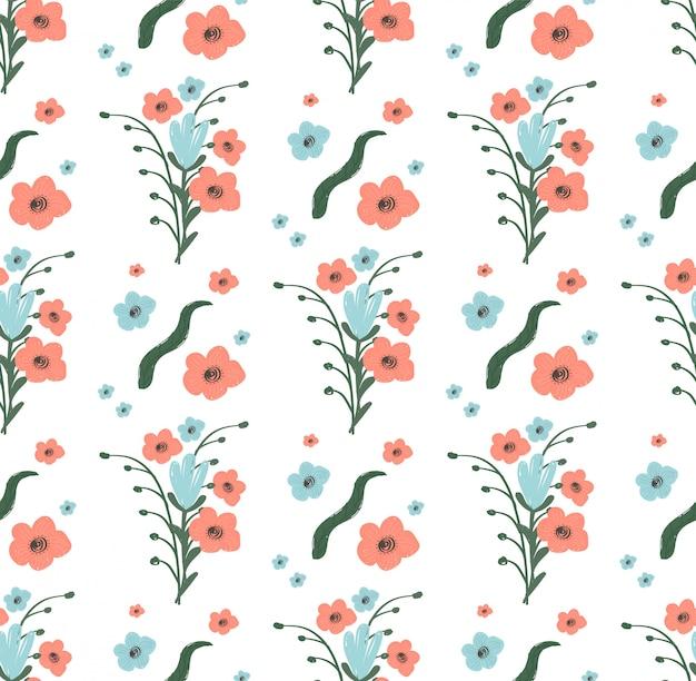 Bezszwowy wzór kwiaty z liśćmi na bielu