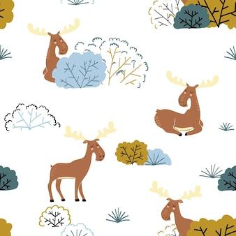 Bezszwowy wzór lasu z łosiem i kwiatowymi elementami łoś w tle w stylu skandynawskim