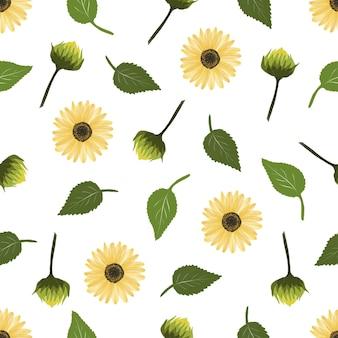 Bezszwowy wzór liścia słonecznika i pąka do projektowania tkanin i tła
