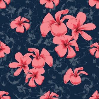 Bezszwowy wzór menchii frangipani kwitnie abstrakcjonistycznego tło.