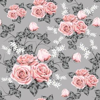 Bezszwowy wzór menchii róży rocznik kwitnie tło