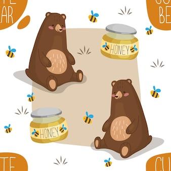 Bezszwowy wzór miodu z kreskówkowym niedźwiedziem brunatnym niedźwiedzie grizzly kochają miód