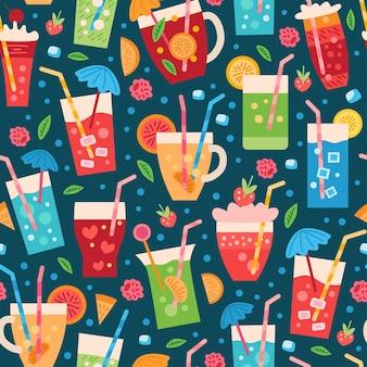 Bezszwowy wzór napojów. letnie tropikalne tło z koktajlem owocowym