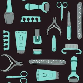 Bezszwowy wzór narzędzi do manicure koncepcja zdobienia paznokci z polskim nożykiem itp
