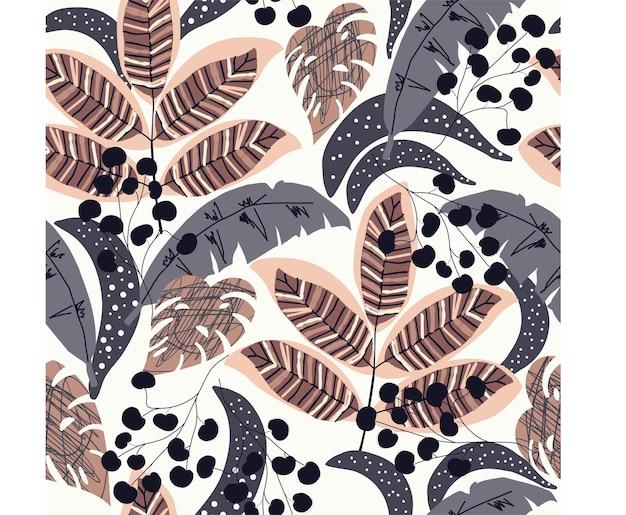 Bezszwowy wzór natury abstrakcyjna tekstura pozostawia kształty rysując na białym tle ręcznie rysowane