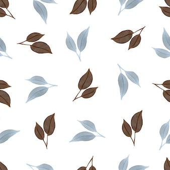 Bezszwowy wzór niebieskich i brązowych liści na tkaninę
