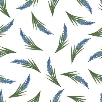Bezszwowy wzór niebieskiej lawendy do projektowania tkanin i tła