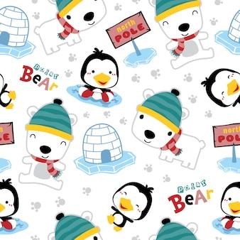 Bezszwowy wzór niedźwiedź polarny kreskówka z pingwinem