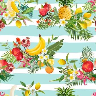 Bezszwowy wzór owoców tropikalnych