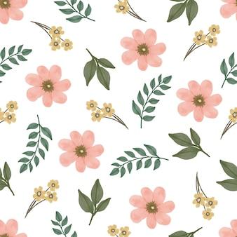 Bezszwowy wzór pełnego koloru kwiatu i liścia do projektowania tekstyliów