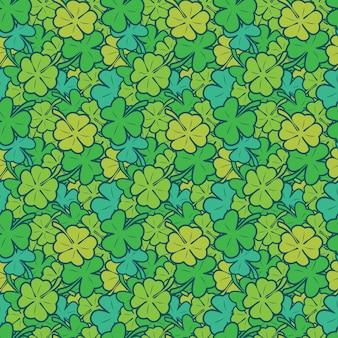 Bezszwowy wzór pełno koniczyna zieleni liścia natura