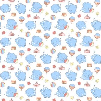 Bezszwowy wzór ręcznie rysowane szczęśliwy niebieski słoń