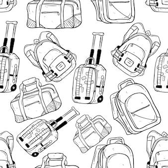 Bezszwowy wzór ręka rysunkowej podróży torba i plecak na białym tle