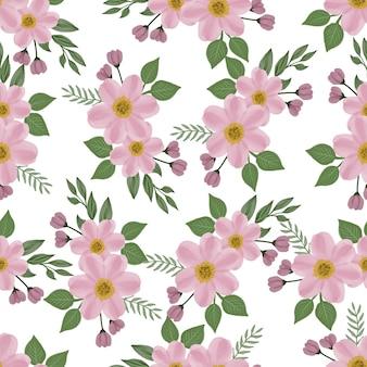 Bezszwowy wzór różowego kwiatu i liścia do projektowania tkanin i tła