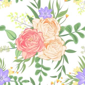 Bezszwowy wzór róży brzoskwini wektor