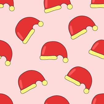 Bezszwowy wzór santa hat z czarnym konturem śliczna płaska ilustracja