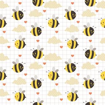 Bezszwowy wzór śliczna pszczoła, chmura i serce na białym tle. wzór ślicznej pszczoły. wzór ślicznej chmury w kropki. postać cute pszczoły w stylu płaski.