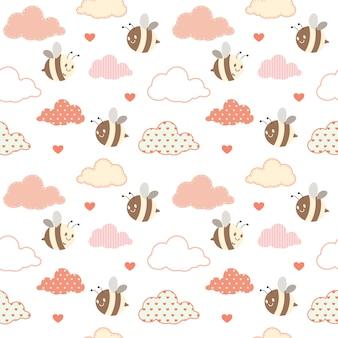 Bezszwowy wzór śliczna pszczoła i chmura