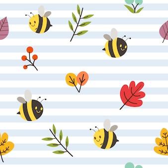Bezszwowy wzór śliczna pszczoła, kwiat i liść