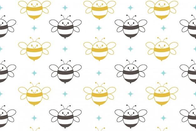 Bezszwowy wzór śliczna pszczoła na białym tle.