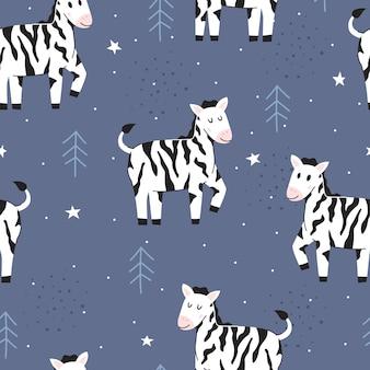 Bezszwowy wzór śliczna zebra