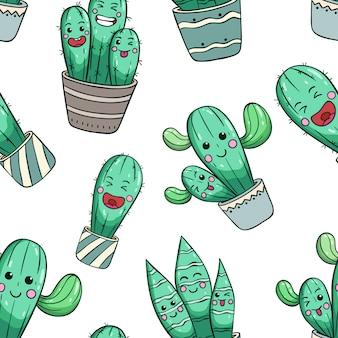 Bezszwowy wzór śliczny kaktus z kawaii twarzą lub wyrażeniem