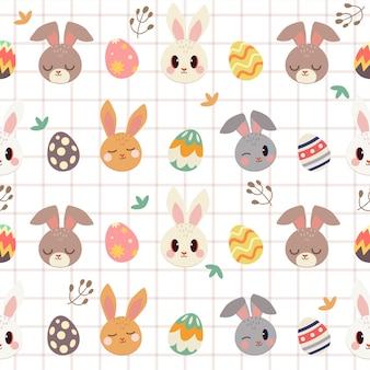 Bezszwowy wzór śliczny królik, easter jajko i liść
