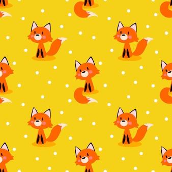 Bezszwowy wzór śliczny lis na jaskrawym żółtym tle.