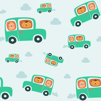 Bezszwowy wzór śliczny uśmiechnięty szczęśliwy lew na autobusie. styl dla dzieci