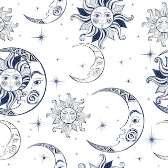 Bezszwowy wzór. słońce księżyc i gwiazdy. tło kosmiczne.