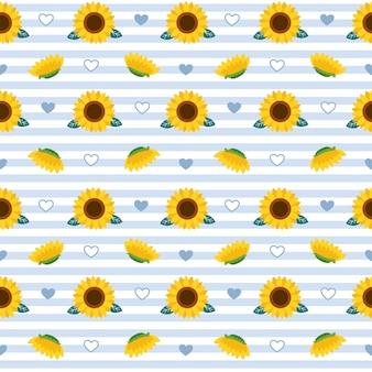Bezszwowy wzór słonecznik i liść na tle.