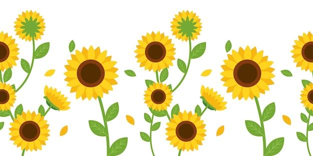 Bezszwowy wzór słonecznik i liść