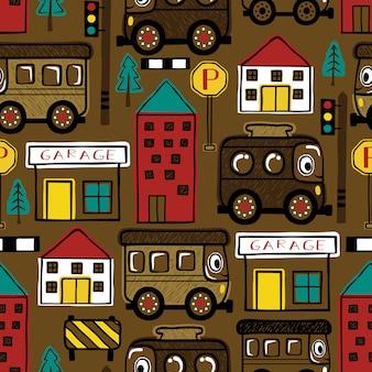 Bezszwowy wzór śmieszna samochodów i budynków kreskówka