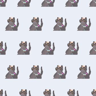 Bezszwowy wzór śmieszny kot z koktajlem. kot w okularach i kapeluszu. dobre dla tła, kart i nadruków o tematyce letniej. wektor.