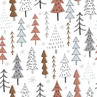 Bezszwowy wzór świąteczny z projektem drzewa