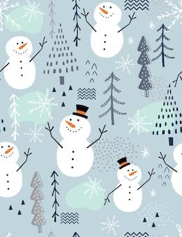Bezszwowy wzór świąteczny z uroczym bałwanem i drzewem