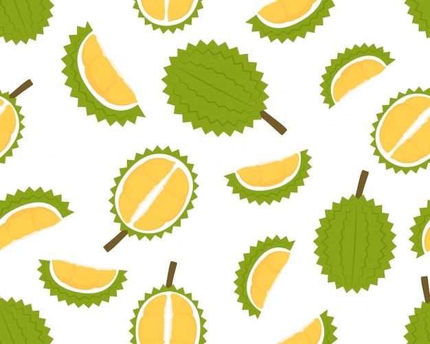 Bezszwowy wzór świeży durian