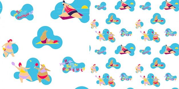 Bezszwowy wzór szczęśliwa gruba dziewczyna na plaży