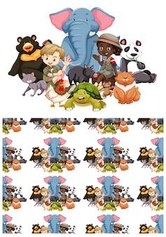 Bezszwowy wzór tła z dziećmi i dzikimi zwierzętami
