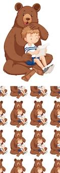 Bezszwowy wzór tła z niedźwiedziem i chłopcem