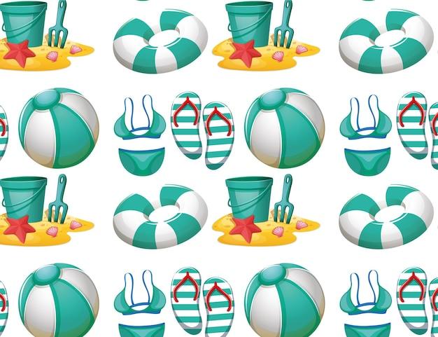 Bezszwowy wzór tła z zabawkami plażowymi