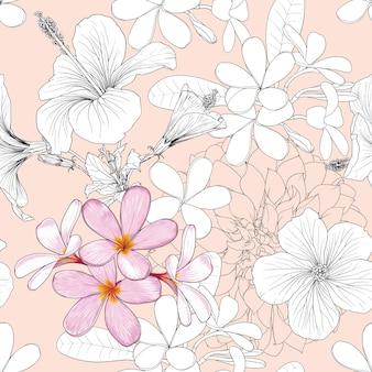 Bezszwowy wzór tropikalny tło z ręcznie rysować kwiatowy wzór