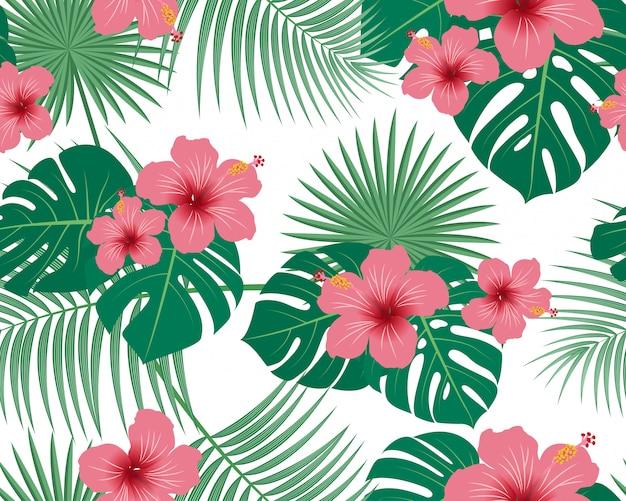Bezszwowy wzór tropikalny tropikalny kwiecisty i liście