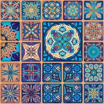 Bezszwowy wzór. vintage patchwork płytki dekoracyjne elementy.