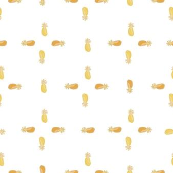 Bezszwowy wzór w stylu geometrycznym z nadrukiem elementów ananasa doodle