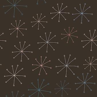 Bezszwowy wzór wektorowy z abstrakcyjnymi kształtami na ciemnobrązowym tle