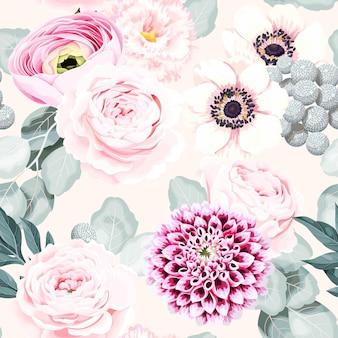 Bezszwowy wzór wektorowy z pastelowymi, szczegółowymi kwiatami vintage