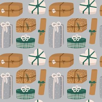 Bezszwowy wzór wektorowy z różnymi pudełkami na prezenty świąteczne